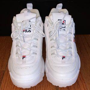 All white Fila Disruptors Size 9 Men's